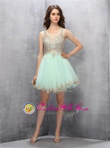 Custom Designed Apple Green Tulle Zipper Scoop Sleeveless Knee Length Homecoming Dress Appliques