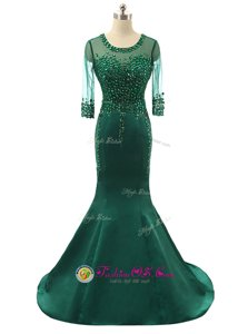 Luxurious Mermaid Satin Scoop 3|4 Length Sleeve Brush Train Zipper Beading Celebrity Evening Dresses in Green