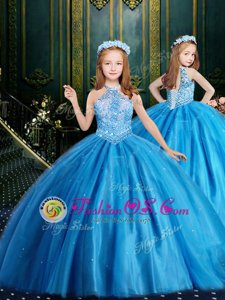 Discount Halter Top Sequins Floor Length Ball Gowns Sleeveless Baby Blue Flower Girl Dress Lace Up