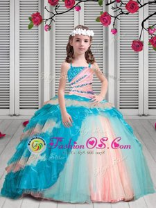 Multi-color Ball Gowns Organza Spaghetti Straps Sleeveless Beading and Ruffles Floor Length Lace Up Toddler Flower Girl Dress
