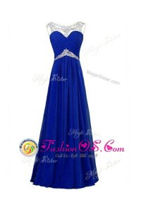 Exquisite Silk Like Satin Sleeveless Floor Length Prom Party Dress and Beading