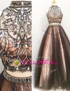 Dynamic Brown Two Pieces Tulle High-neck Sleeveless Beading and Ruching Floor Length Zipper Prom Evening Gown