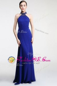 Colorful Royal Blue Empire Lace Evening Wear Zipper Satin Sleeveless