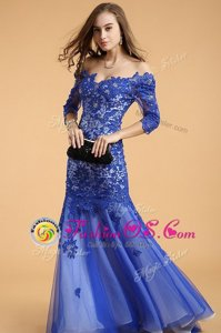 Royal Blue Mermaid Off The Shoulder Sleeveless Lace Floor Length Zipper Beading Prom Party Dress