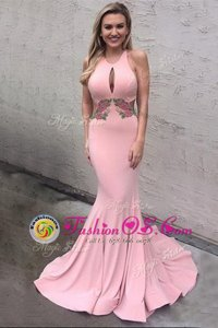 Clearance Mermaid Scoop Sleeveless Brush Train Criss Cross Prom Party Dress Pink Elastic Woven Satin