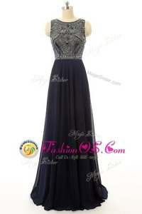 Sexy Sleeveless Chiffon Floor Length Side Zipper in Black for with Beading