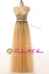 Scoop Sequins Peach Sleeveless Organza Sweep Train Side Zipper for Prom and Party