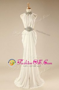 Dramatic High-neck Sleeveless Prom Party Dress Sweep Train Beading and Belt White Chiffon