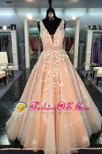 Straps Sleeveless Zipper Prom Homecoming Dress Peach Chiffon