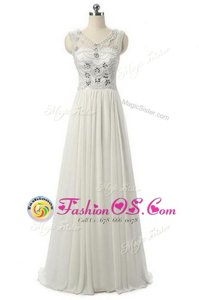 White Sleeveless Chiffon Zipper Prom Party Dress for Prom