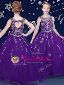 Purple Girls Pageant Dresses Quinceanera and Wedding Party and For with Beading Scoop Sleeveless Lace Up