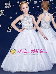 White Ball Gowns Organza Halter Top Sleeveless Beading Floor Length Zipper Flower Girl Dress