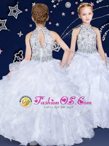 Spectacular Halter Top Sleeveless Floor Length Beading and Ruffles Zipper Little Girls Pageant Gowns with White