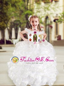 Cap Sleeves Floor Length Lace Up Flower Girl Dresses White and In for Quinceanera and Wedding Party with Beading and Appliques and Ruffles