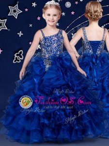 Classical Beading and Ruffled Layers Little Girl Pageant Dress Royal Blue Lace Up Sleeveless Floor Length
