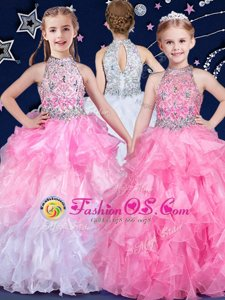White and Pink And White Halter Top Zipper Beading and Ruffles Little Girls Pageant Gowns Sleeveless