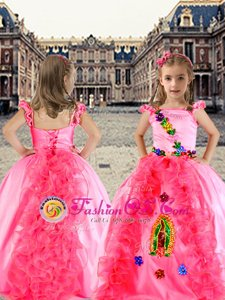 Spaghetti Straps Cap Sleeves Girls Pageant Dresses Floor Length Beading and Appliques and Ruffles Rose Pink Organza and Taffeta