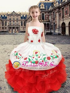 Chic Floor Length Ball Gowns Sleeveless White and Red Kids Formal Wear Lace Up