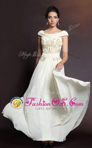 Floor Length Side Zipper Prom Party Dress White and In for Prom and Party with Beading