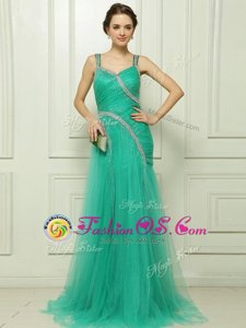 Chic Straps Sleeveless Brush Train Side Zipper Homecoming Dress Turquoise Organza
