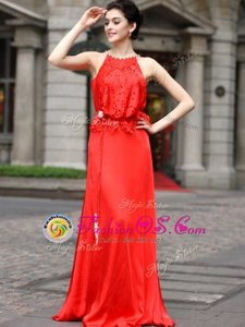 Popular Scoop Coral Red Silk Like Satin Zipper Prom Gown Sleeveless Floor Length Beading and Appliques