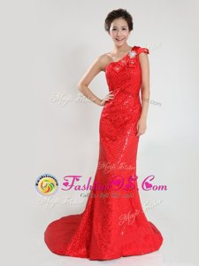 Low Price One Shoulder Sleeveless Sequined Celebrity Dresses Sequins and Bowknot Sweep Train Zipper