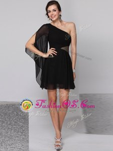 Simple Black Side Zipper One Shoulder Sequins Homecoming Dress Chiffon Half Sleeves