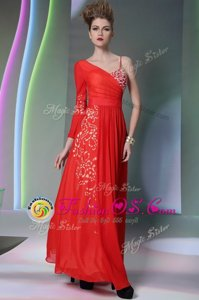 Fashion Coral Red Side Zipper Asymmetric Beading and Embroidery Celebrity Prom Dress Chiffon Long Sleeves