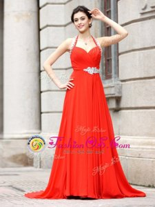 Coral Red Chiffon Zipper Spaghetti Straps Sleeveless Dress for Prom Brush Train Beading