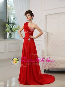 Customized Red Column/Sheath One Shoulder Sleeveless Satin With Train Court Train Zipper Beading and Hand Made Flower Celebrity Inspired Dress