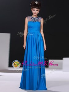Cheap Scoop Blue Column/Sheath Beading and Ruching Prom Party Dress Zipper Silk Like Satin Sleeveless Floor Length