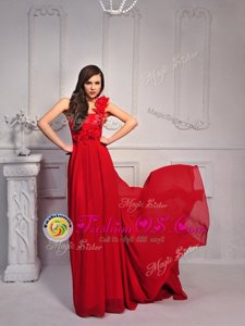 Fancy One Shoulder Sleeveless Court Train Lace Up Red Silk Like Satin