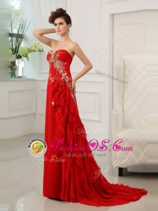 Sexy Red Column/Sheath Beading and Appliques and Ruffled Layers Celeb Inspired Gowns Zipper Chiffon Sleeveless With Train