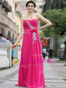 Exceptional One Shoulder Sleeveless Chiffon Prom Evening Gown Beading and Hand Made Flower Zipper