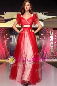 New Style Floor Length Red Dress for Prom Organza Sleeveless Beading
