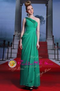 Turquoise Evening Dress Prom and Party and For with Beading and Ruching One Shoulder Sleeveless Side Zipper