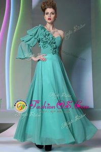 One Shoulder Ruffles and Ruching Prom Gown Turquoise Zipper Long Sleeves Floor Length