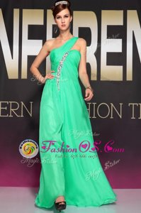 High End One Shoulder Sleeveless Prom Gown Floor Length Beading and Ruching Turquoise Chiffon