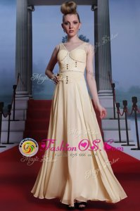 Light Yellow V-neck Neckline Beading and Ruching Evening Party Dresses Sleeveless Side Zipper