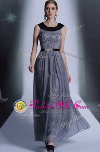 Tulle Scoop Sleeveless Side Zipper Belt Prom Evening Gown in Grey