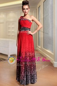 Modest One Shoulder Sleeveless Dress for Prom Floor Length Beading and Pattern and Pleated Red Chiffon