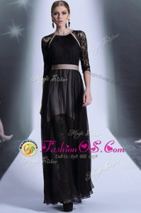 Fabulous Chiffon Scoop Half Sleeves Zipper Lace Prom Party Dress in Black