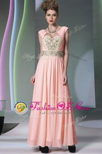 Super Pink Sweetheart Neckline Embroidery and Ruching Evening Dress Cap Sleeves Side Zipper