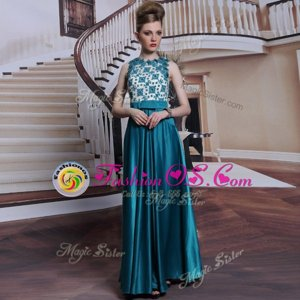 Captivating Scalloped Teal Satin Clasp Handle Evening Dress Sleeveless Floor Length Beading and Appliques