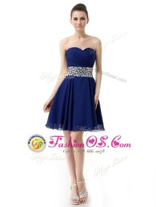 Vintage Blue Chiffon Lace Up Prom Evening Gown Sleeveless Mini Length Beading and Ruffles