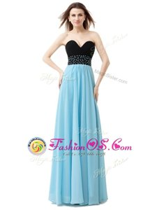 Blue And Black Lace Up Dress for Prom Beading Sleeveless Floor Length