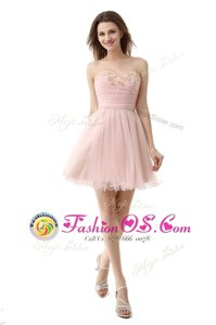 Simple Pink Organza Zipper Prom Party Dress Sleeveless Mini Length Beading and Ruching