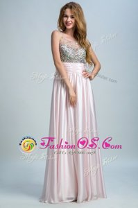 Baby Pink Empire Bateau Sleeveless Chiffon Floor Length Side Zipper Beading and Ruching
