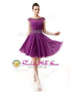 Flirting Scoop Cap Sleeves Silk Like Satin Mother Of The Bride Dress Beading and Ruffles Side Zipper