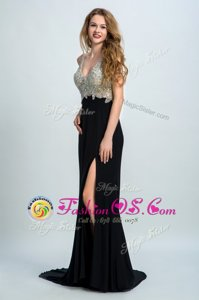 Sleeveless Brush Train Beading Backless Prom Gown